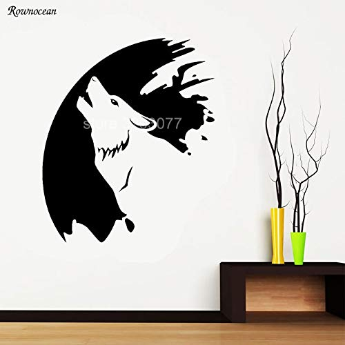 guijiumai Moon Wolf Animal Living Room Hall Bedroom Wall Art Stickers Decalcomanie Vinile Home Rosso L 57x68cm