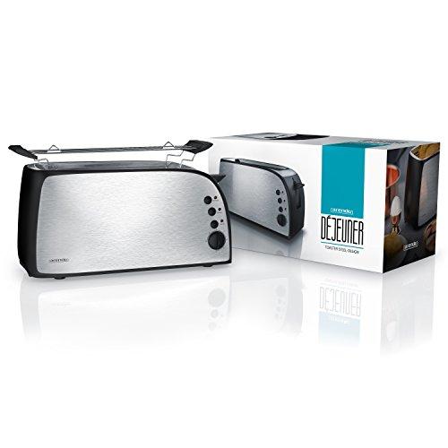 confronta il prezzo Arendo – Tostapane automatico Déjeuner | Toaster a 2 fette | 7 livelli di doratura | 1200W-1500W | argento/nero miglior prezzo