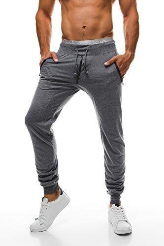 OZONEE Uomo Pantaloni Della Tuta Pantaloni Sportivi Cascante HOT RED 2231 - Uomo, Grigio Scuro_BBG550, M