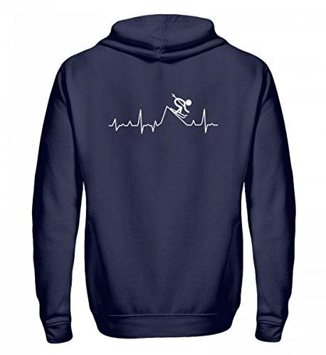 Hochwertiger Zip-Hoodie - Ski Shirt · Wintersport · Lustiges Geschenk für Ski-Fahrer · Spruch: Skipiste Heartbeat