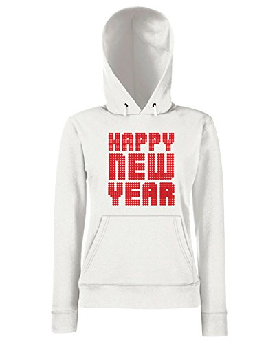 T-Shirtshock - Sweats a capuche Femme T0442 happy new year fun cool geek Blanc