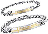 AnazoZ Edelstahl Armband Für Couples Kette Armband Sideway Kreuz Liebe One Another 21CM