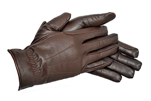 Riders Trend - Guanti in Pelle di Prima qualità con Rivestimento thinsualte, Uomo, Prime Quality Leather Gloves, Marrone, L
