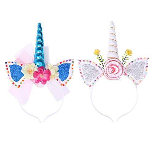 Zwei Kostüm Mädchen Personen - Toyvian LED Einhorn Haarreif Horn Stirnband Haarband Kopfschmuck für Mädchen Kinder Ostern Geburtstag Party Kostüm Deko 2 Stücke (zufälliges Muster)