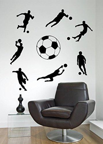 Calcio Calciatori ragazzi sport Cut & Place-Adesivi da Parete Art in vinile, Camera da letto, (Adesivo Star Shapes)