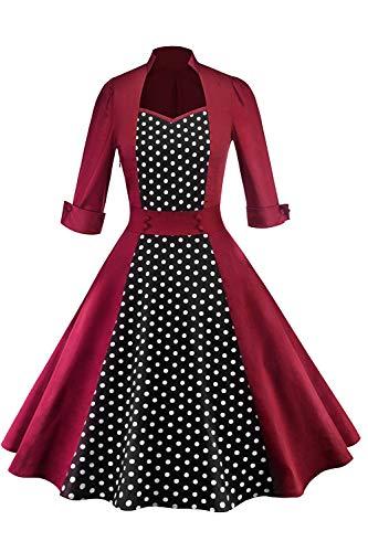 (MisShow Damen elegant 1950er Rockabilly Retro Kleider Schwing Festliches Partykleider Weinrot 2XL)