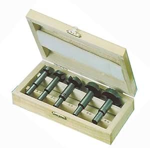 Forstnerbohrer Set Satz in Holzbox 5-tlg. 15-35 mm