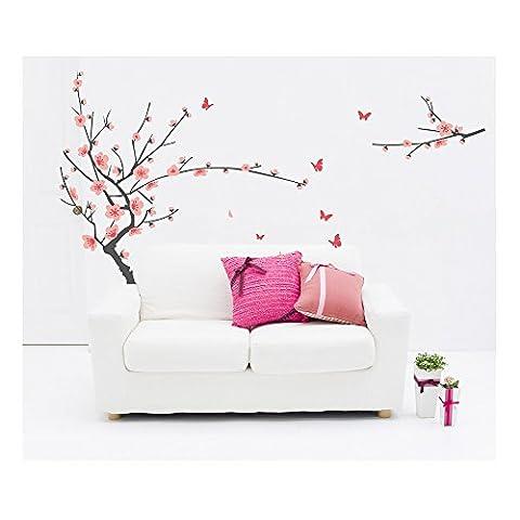 Tatouages / Stickers / Autocollants Muraux Gracieux en Vinyle Haute Qualité Adhésifs Détachables Murs de la Chambre Avec Designs Fleurs de Cerisiers Japonais & Papillons Roses Par