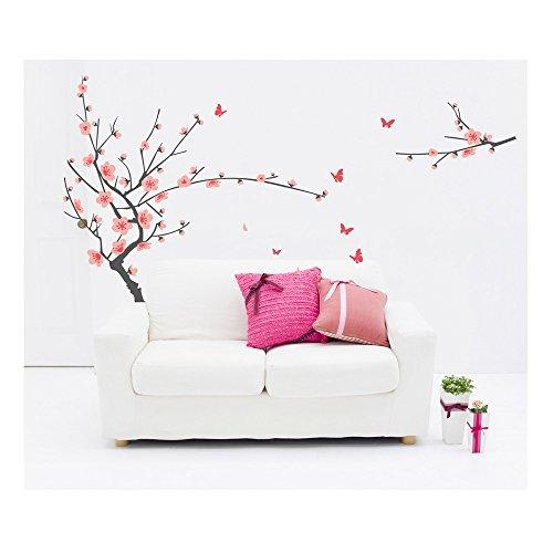 Gracious adhesivo de alta calidad habitaciones paredes vinilo pegatinas DIY/murales/dodoskinz/tatuajes/transferencias con rosa japonés de árbol de cerezo y mariposas diseños de VAGA