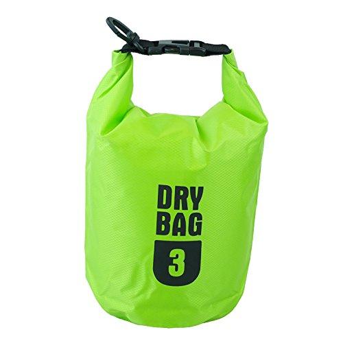 Premium 3L/5L/10L Outdoor impermeabile Dry Bag Sacco con tracolla regolabile, ideale per attività all' aperto/Sport acquatici, Green, 3 L - Sport e all'aperto Attrezzature per attività all'aperto