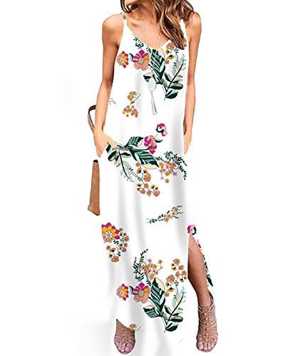 TUDOU Damen Kleid Lose Spaghetti Strap V-Ausschnitt Split Maxi Kleider Sommer Strandkleider mit Tasche (M, Weißer Druck-1) -