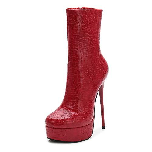 SHANGWU Damen Damen Kalb Biker Stiefel/Latform Winterstiefel Sexy High Heels PFashion Mädchen dünne Ferse Party Kleid Schuhe Geschenke Stiefel Größe (Farbe : Rot, Größe : 46) (Für Stiefel Mädchen Kleid)