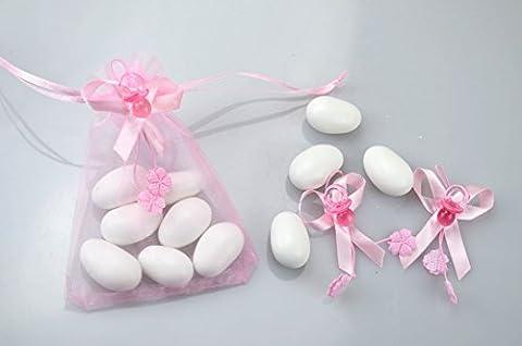 50Stück Schnuller Bonboniere 2cm rosa Dekoration mit Schleife ciuque Leaves Geburt und Taufe