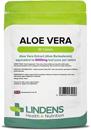 Lindens Aloe Vera 6000 mg Tabletten | 90 Verpackung | Konzentrierter Extrakt, entspricht 6000 mg des Saftes aus Aloe Vera-Blättern