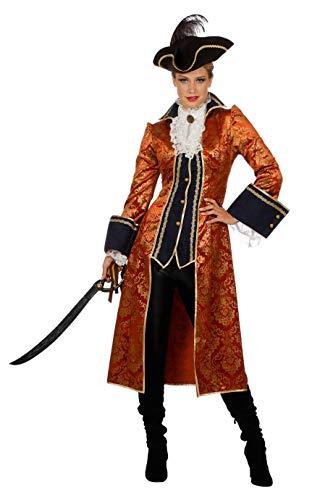 The Fantasy Tailors Piraten-Kostüm Damen Piraten-Mantel lang Kupfer Damenkostüm Pirat Freibeuter Karneval Fasching Hochwertige Verkleidung Fastnacht Größe 52 Kupfer