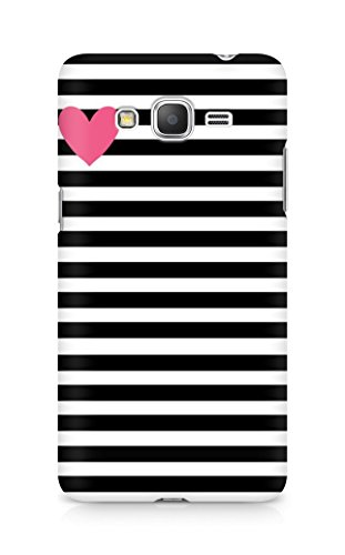 AMEZ designer printed 3d premium high quality back case cover for Samsung Galaxy Grand Prime (black white stripes pink heart)  available at amazon for Rs.199