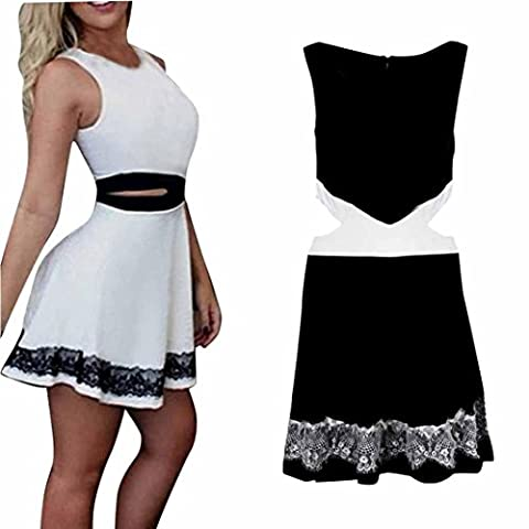 Janly®Sheath Dress Pattern Cotton Sleeveless Slim Knee Length Dresses For Teens Girls Woman Cocktail Party Evening (White)