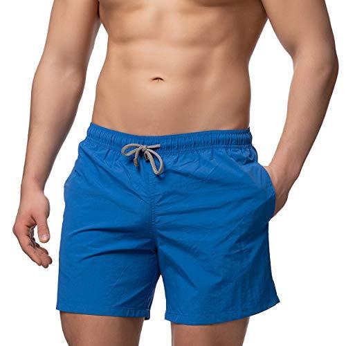Herren Badeshorts - in vielen trendigen Farben - Badehose Bermudashort (L, Sea Blue) - Blaue Badehose