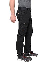Krystle Men's Cotton Stylish Cargo Trouser Pant 6 Pocket Black