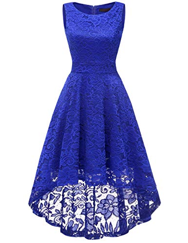 Dresstells Damen Rundhals Spitzenkleid Ärmellos Hi-Lo Elegant Kleider Vokulila Cocktail Party Kleid...