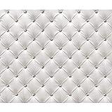 decomonkey Fototapete Leder weiß grau Deluxe 400x280 cm XXL Design Tapete Fototapeten Vlies Tapeten Vliestapete Wandtapete moderne Wand Schlafzimmer Wohnzimmer FOB0149a84XL