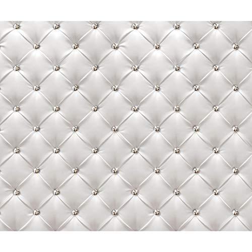 decomonkey Fototapete selbstklebend Leder weiß grau Deluxe 392x280 cm XXL Selbstklebende Tapeten Wand Fototapeten Tapete Wandtapete klebend Klebefolie FOB0149a84XL
