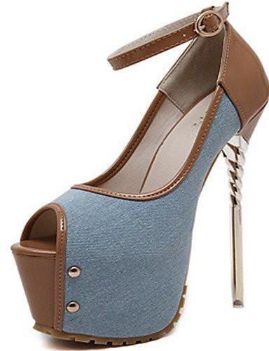 WSS 2016 Chaussures Femme-Habillé / Soirée & Evénement-Noir / Bleu / Rouge-Talon Aiguille-Bout Ouvert / Confort-Chaussures à Talons-Polyuréthane black-us8.5 / eu39 / uk6.5 / cn40