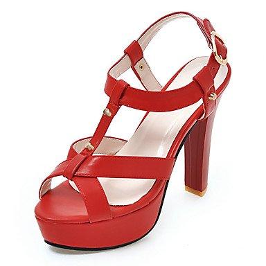 LvYuan Sandali-Formale Casual Serata e festa-Alla schiava Club Shoes-Quadrato-Finta pelle-Nero Rosa Rosso Bianco Beige beige
