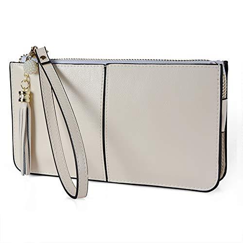 Befen Weiches Leder-Reißverschluss Tasche Organizer mit Kreditkarten-Halter/-Tasche mit Handschlaufe (Beige Wristlet) -
