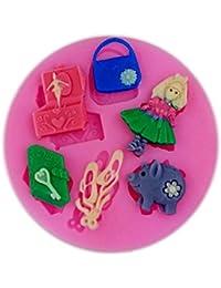 Auket Fille Music Box Journal de porc fondant Savon Gâteau décoration de biscuits de moule de silicone # 146