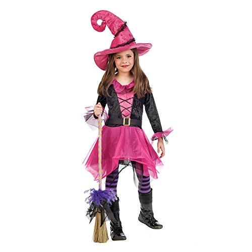 Kleine Hexe Märchen Kostüm Kinder pink Kleid mit Hexenhut - 9/11 Jahre