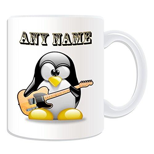 Personalisiertes Geschenk–Elektrische Jazz Gitarre Becher (Design Pinguin in Kostüm Thema, weiß)–alle Nachricht/Name auf Ihre einzigartige–Musik Musikinstrument
