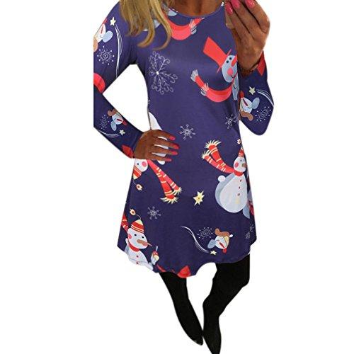 Natale Vestiti, Reasoncool dalle donne di Natale Stampa dell'oscillazione del vestito delle signore di Natale a maniche lunghe svasato partito (S-Busto:35.4