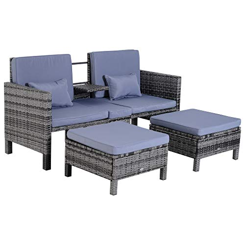 Outsunny 3pcs Patio Rattan Companion Sofa Garden Furniture Set with Footstool Outdoor Pool Loveseat Conversation Wicker Seat All Weather Grey