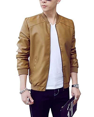 Herren Jacke Blouson Jacket Pu Lederjacke Kunstleder Bomberjacke Langarm Revers Mit Zipper Pilotenjacke (Color : Kaki, Size : L)