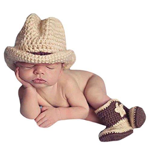 s Baby Junge Mädchen Handgefertigt Häkelware Fotografie Kostüm (Cowboy Hut Stiefel) ()