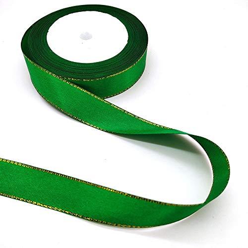Beatiful 25 yardas/paquete cinta satén línea dorada