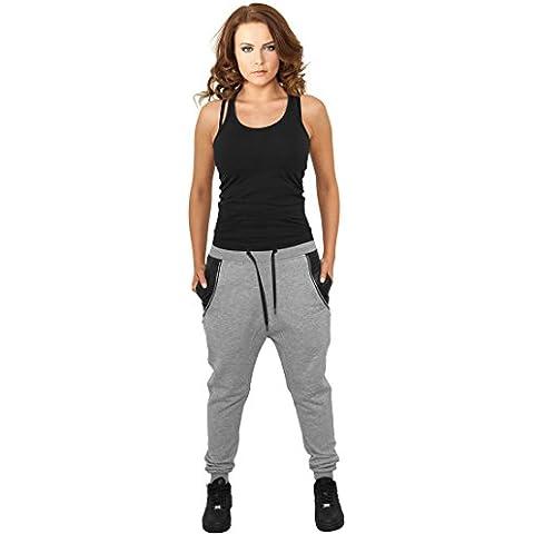 Urban Classics TB801 Ladies Side Zip Leather Pocket Sweatpant Pantalone tuta donna GREY XL