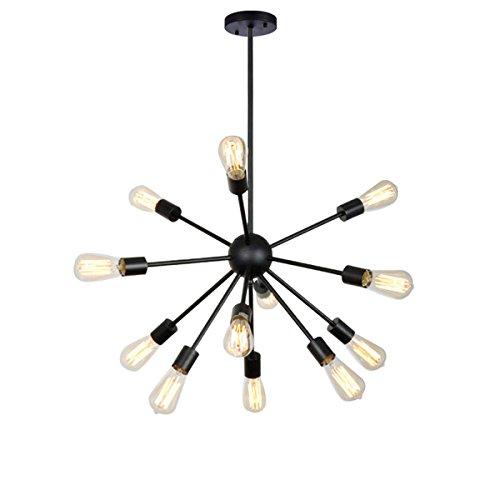 LWDMLSH 12 Cabezales Araña Negra Moderna Lámpara