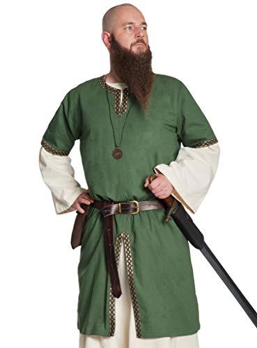 Andracor Edle verzierte Mittelalter Kurzarm Tunika - Gernot - Grün - Größe M - Individuell einsetzbar für LARP, Mittelalter, Fantasy & - Der Edle Ritter Kostüm Für Erwachsene