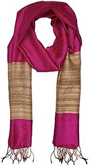 ROSHNI by Sunita bali Women's Woven Design Tassar Silk Dupatta (dup-113- purp-tuss- bor_Beige & Red_Fr