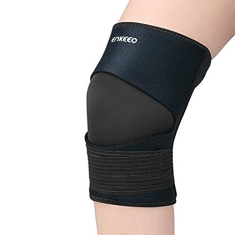Enkeeo atmungsaktive Kniebandage Knieschützer mit Klettverschluss und Patellaöffnung verstellbare Knieorthese