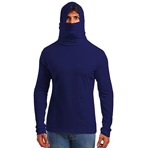 Xmiral Herren Hoodie T-Shirt mit Maske Herbst Winter langärmeliges Top(L,Marine Blau)