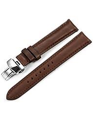 iStrap de piel correa para reloj 22mm Hecha a mano militar banda pulsera Mariposa Cierre Desplegable, Color marrón oscuro