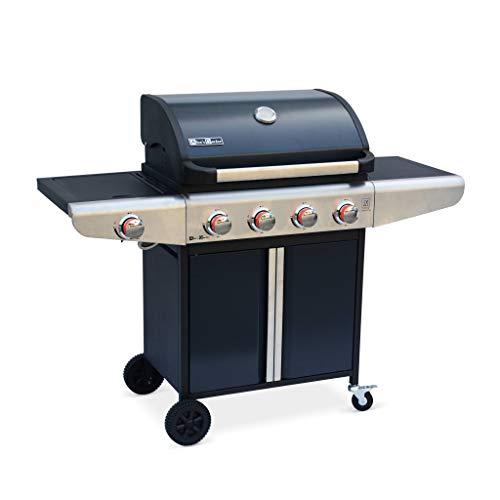 Alice's Garden Barbecue au gaz - Bazin 4 Gris Anthracite - Cuisine extérieure 4 brûleurs + 1 feu latéral avec...