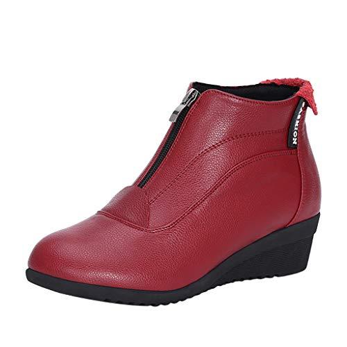 Damen Stiefel FGHYH Herbst und Winter Tanzschuhe Kurze Stiefel mit weichem Boden Ferse Stiefel(38, rot)
