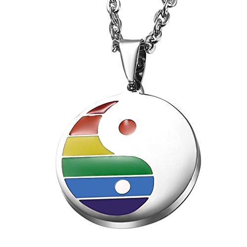 Oidea Herren Halskette mit Regenbogen Yin Yang Anhänger, Edelsatahl Homosexuell LGBT Gay & Lesbian Pridemit 55cm Kette