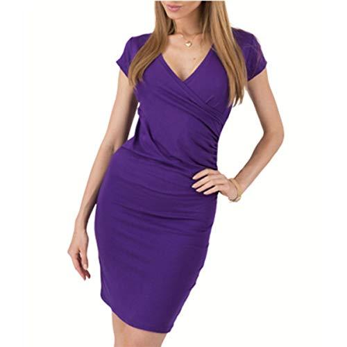 ZLDDE Women es Sleeveless V-Neck Pencil Party Dress Evening Gown Lila