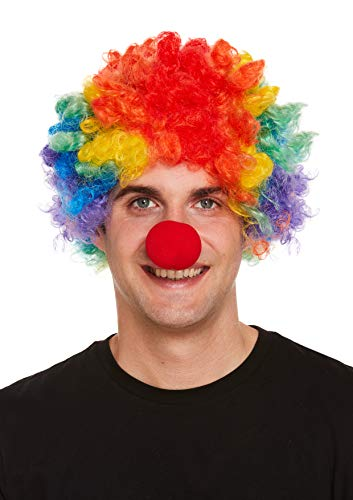 labreeze Erwachsenenperücke Clown Afro mit roter Schaumstoffnase Halloween Kostüm - Clown Afro Perücke Kostüm