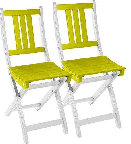 City Green CGBUR61L2 Chaise Pliante Acacia Vert Anis Doux 36 x 50 x 86 cm
